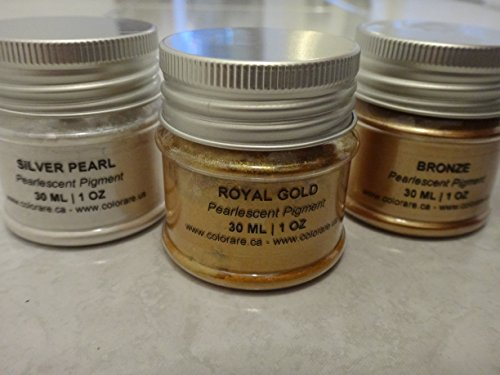 (The PRECIOUS METALS Collection - Pack of 3 PEARLESCENT Pigments (30 ml | 1 OZ EA): SILVER PEARL, ROYAL GOLD & BRONZE Pigments for Decorative Patinas, Painting and Art Work)