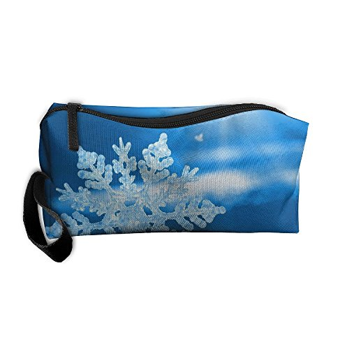 Portable Outdoor Cosmetic Toiletry Clutch Bag Accessories Organizer Case Travel Home Use Zipper Oxford Snow Flake Merry Christmas Storage Pouch Pencil Case]()