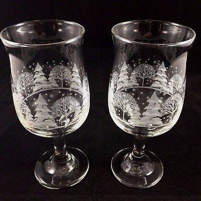 Set of 2, White Winter Scene Stemmed Water/Wine Glass, Arby's Christmas Glass, Collect Arby's Wine Glass