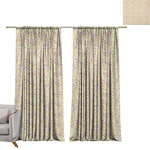 berrly Room Darkening Wide Curtains Abstract,Watercolor Unicorns Pattern with Pale Tones on Pastel Flower and Stars Background, Multicolor W72 x L108 Window Curtain Fabric