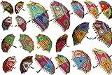 15 Pcs Mix Lot Indian Wedding Umbrella Handmade Embroidery Umbrella Decorations Mirror Work Vintage Parasols Cotton Umbrellas