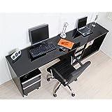 パソコンデスク 210cm 幅広デスク+書棚+2段チェスト 3点セット[ブラック・黒]/鏡面仕上げ 光沢 シンプルデザイン