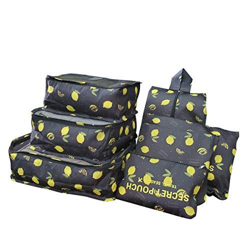Sackorange 7 Set Travel Storage Bags Packing cubes Multi-functional Clothing Sorting Packages,Travel Packing Pouches,Luggage Organizer (Black lemon)