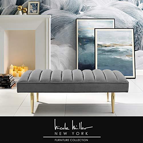 Nicole Miller Raul Bench - Velvet Upholstered   Channel Tufted   Mirrored Metal Legs   Glam   Light Grey/Gold (Nicole Set Dining)