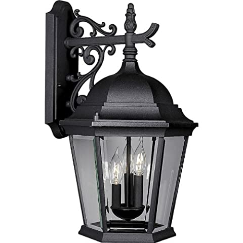 Progress Lighting P5690-31 Wall Lantern with Delicately Detailed, Beveled Glass, Textured Black (Lone Star Porch Light)