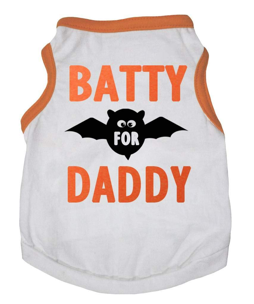 Petitebella Halloween Batty Daddy White Cotton Shirt Puppy Dog Clothes (XX-Large, White)