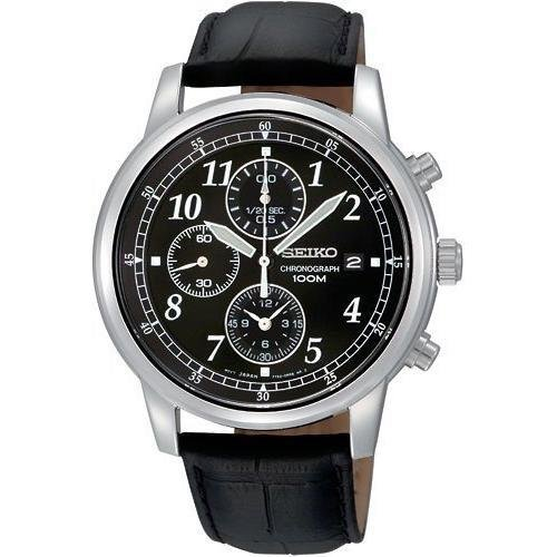 Black Leather Chronograph Watch (Seiko Men's SNDC33 Classic Black Leather Black Chronograph Dial Watch)