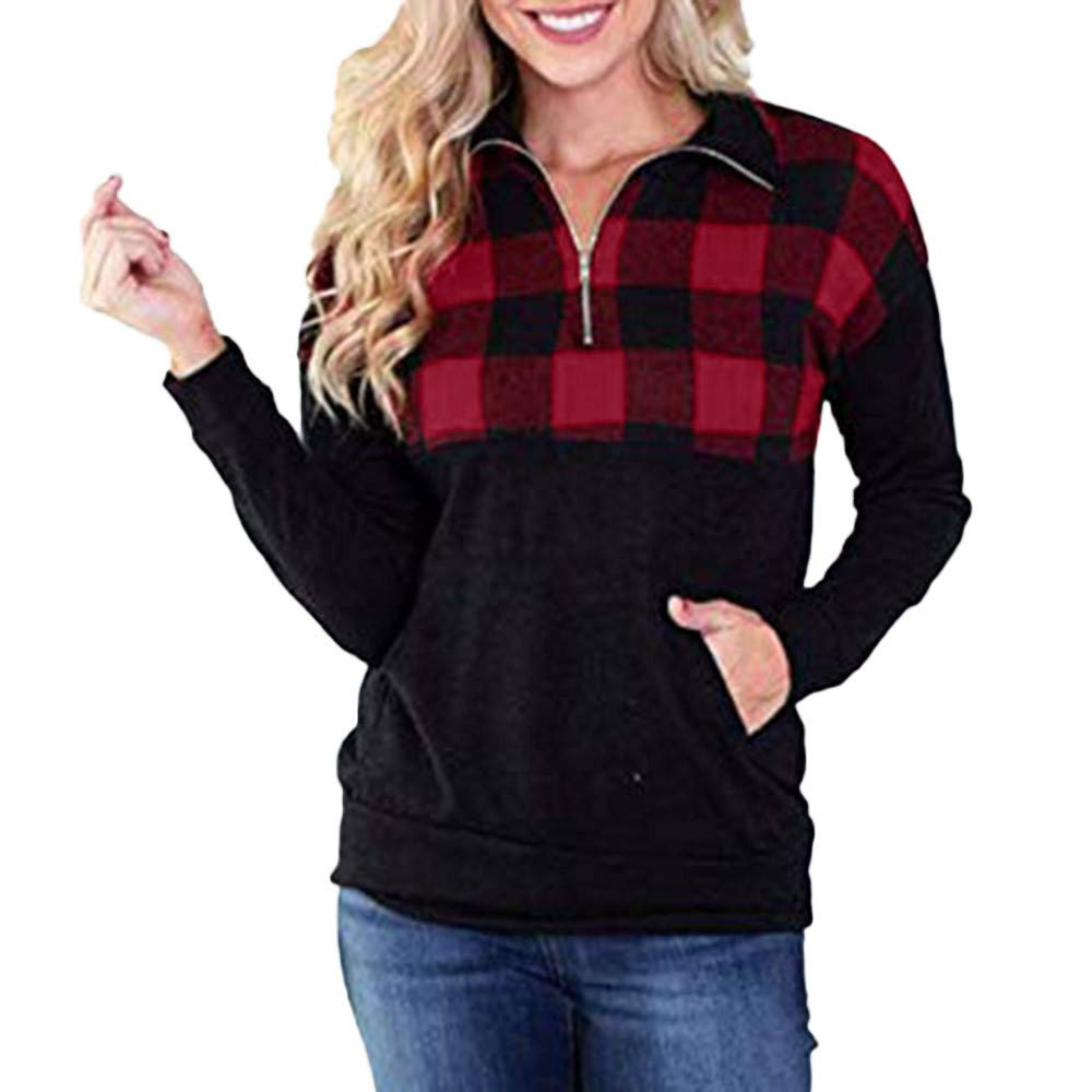 Wobuoke Women Casual Plaid Stitching Pullover Sweatshirts Top Blouse at Amazon Womens Clothing store: