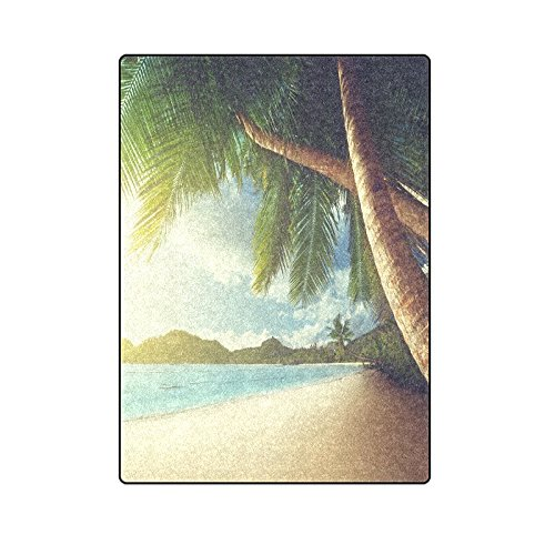 Blanket Throw Super Soft Warm Fuzzy Lightweight Bed or Couch Blanket with Summer Holiday And Beach Palm Trees (Custom Throw Blankets)