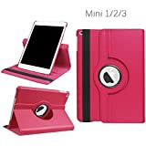 iPad Mini 1/2/3 Case - 360 Degree Rotating Stand Smart Cover Case with Auto Sleep/Wake Feature for Apple iPad Mini 1 / iPad Mini 2 / iPad Mini 3 (Rose) …