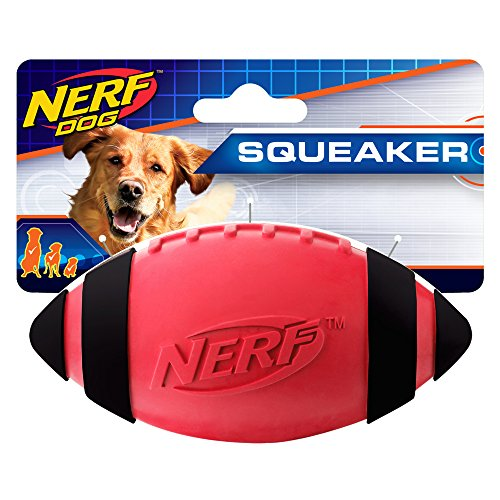 (Nerf Dog 5in Classic Squeak Football: Red, Dog Toy )
