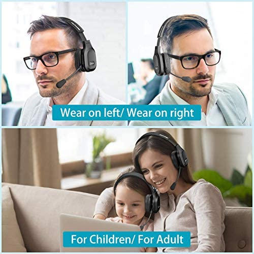 PUTARE Trucker Bluetooth Headset, Left or Right On Ear Bluetooth Headphone with Noise Cancelling Microphone, Wireless/Wired Headset with 2 Devices Connection Mute Mic for Smartphone PC Tablet