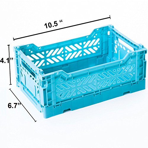 AY-KASA Collapsible Storage Bin Container Basket Tote , Folding Basket CRATE Container : Storage , Kitchen , Houseware Utility Basket Tote Crate - Mini-BOX ( TURQUOISE )