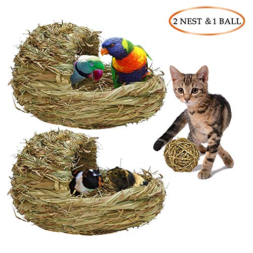 Bangxixi-home Pet Hut Eco-Friendly Couch,Grass Bed,Hideaway Grass Toy,Chew Toys-Handcrafted Natural Grass Small Animals Houses Habitats Bedding Décor for Cat,Bird,Hamster,Chinchillas,Guinea Pigs from Bangxixi-home