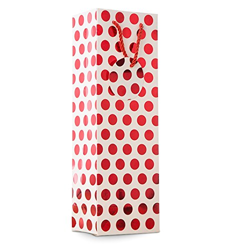 UNIQOOO 12Pcs Premium Quality Metallic Foil Gold,Silver,Red,Purple Polka Dot Wine Gift Bag Bulk, Single Wine Tote 14''x4.75''x3.5'' w/Gift Massage Tag,100% Recyclable Paper,Wine Liquor Carrier Bags Cover by NAVADEAL (Image #4)