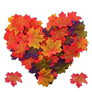 Pistha Artificial Fall Maple Leaves - 300 PCS Artificial Maple Leaves Artificial Maple Leaf Art Flowers for Party and Weddings 88