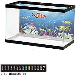 "bybyhome Fish Tank Backdrop Aquarium,Tropic Fish Seaweed Marine,Aquarium Background,36"" L X 24"" H(92x61cm) Thermometer Sticker"