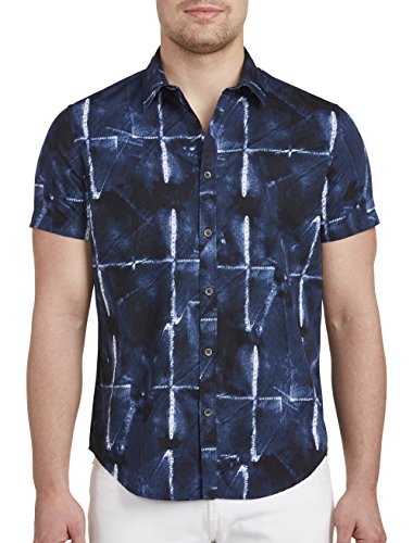Calvin Klein Jeans Big and Tall Abstract Grid Print Sport Shirts Abstract Button