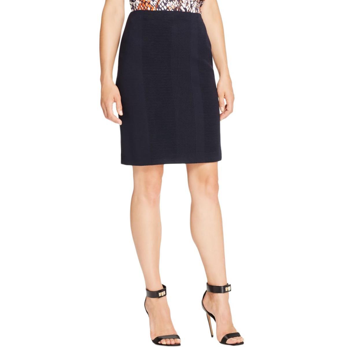Hugo Boss Womens Meralina Textured Knee-Length Pencil Skirt Navy 14