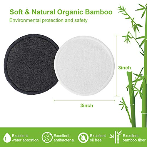 MAQUITA Reusable Makeup Remover Cotton Pads Face Pack Washable Laundry Storage Bag Skincare Cleaning Bamboo Cloth Rounds Facial Wipes Eye Lip 20Pcs