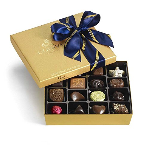 Godiva Chocolatier Assorted Chocolate Gold Gift Box, Striped Ribbon, Gourmet Chocolate, Great for Father's Day, 19 pc