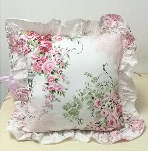 FADFAY Romantic Pink Floral Throw Pillows Candy Heart Square Shaped Sofa Bed Throw Pillows,1 Piece (Square Pillow)