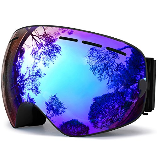 hongdak Ski Goggles, Snowboard Goggles UV Protection, Snow Goggles Helmet Compatible for Men Women Boys Girls Kids, Anti Fog OTG