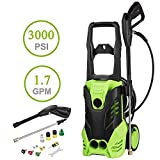 Bestlucky 3000 PSI Electric Pressure Washer, 1.7GPM 1800W Rolling Wheels High Pressure Washer with Power Hose Nozzle Gun and 5 Quick-Connect Spray Tips [US Stock] (3000PSI - Green)