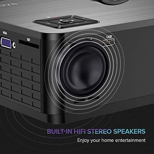 XIAOYA Mini Projector HD 720P with HiFi Speaker, 4000 Lumens Movie Projector Support 1080P Home Theater Projector, Compatible with HDMI, SD, AV, VGA, USB 51f LTqVIYL