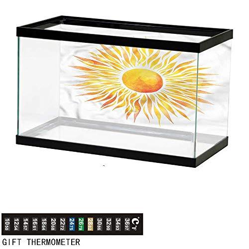 Suchashome Fish Tank Backdrop Orange,Graphic Sunburst Watercolors,Aquarium Background,36