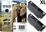 Epson Original 24XL Black High-Capacity Ink Cartridge Elephant (Pack of 2)