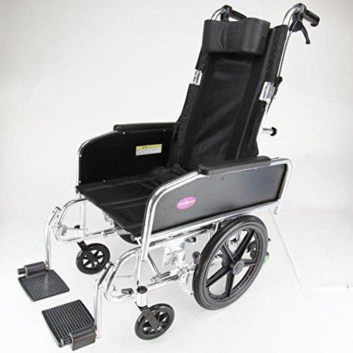 リクライニング式 車椅子 『アポロン』コンパクトタイプ ブラック×シルバー 介助用 車いす 折り畳み式 ノーパンクタイヤ 車イス A801-C B012C3D6TY