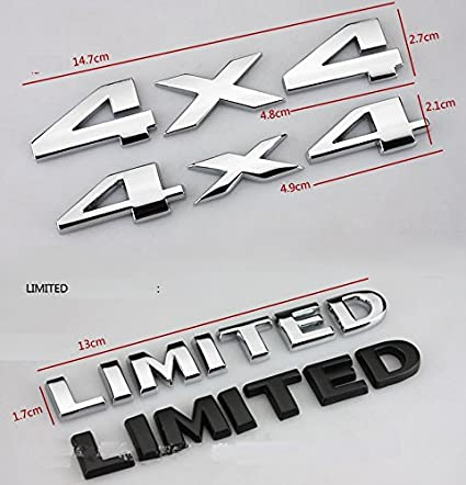 Yoaoo-oem/® 2pcs 1set Black 4x4+Limited Auto Tuning 4 X 4 Chrome Logo 3d Decal Emblem Logo Sticker Liberty Nameplate Badge +Limited Trunk Hood Door for Ford Jeep Grand Cherokee Wrangler Compass