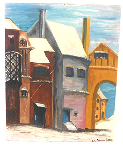 Street Scene Antique (Vintage 1960 Street Scene Painting by Barbara Pearson)