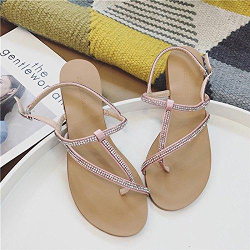 sandalias Sandalias de romanos verano de del los los planas planas Pink zapatos de zapatos playa de las sandalias wHSw0q