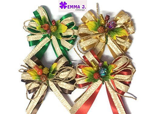EMDesign 4 packs 4 color Gift Wrap Bows Rattan and Fabric Ribbon (Antique Lace Patterns)