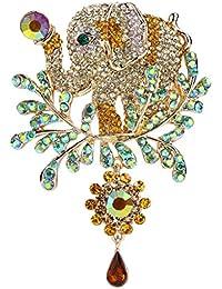 Women's Austrian Crystal Adorable Animal Elephant Teardrop Brooch Gold-Tone