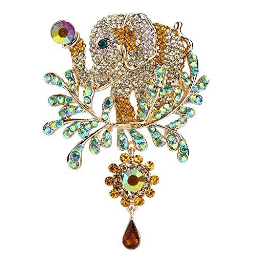 EVER FAITH Women's Austrian Crystal Adorable Animal Elephant Teardrop Brooch Brown Gold-Tone