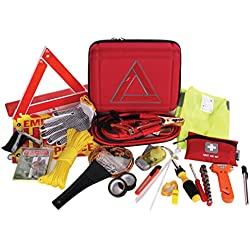 Thrive Roadside Assistance Auto Emergency Kit + First Aid Kit – Case - Contains Jumper Cables, tools, Reflective Safety Triangle and more. Ideal winter accessory for your car, truck, camper