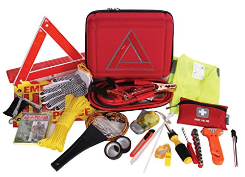 Thrive Roadside Assistance Auto Emergency Kit + First Aid Kit   Case   Contains Jumper Cables, Tools, Reflective Safety Triangle And More. Ideal Winter Accessory For Your Car, Truck, Camper