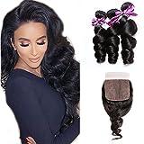 loose Perstar Loose Wave Bundles With Closure Unprocessed Virgin Brazilian Hair Loose Wave With 4