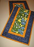 Blue Yellow Flower Summer Table Runner, Quilted, 100% Cotton 14 x 48 Reversible