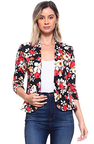 Bubble B Women's Plus Size Floral Print Blazer Button Front Jacket Black Red 2X