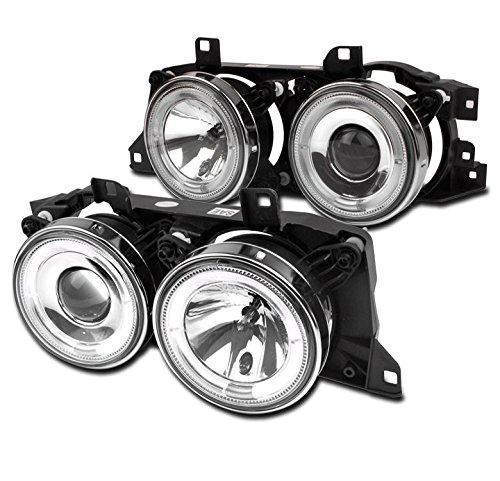 ZMAUTOPARTS BMW E34/ E32/ M5 Halo Projector Headlight Chrome Left+Right Pair ()