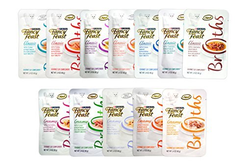 Fancy Feast Gourmet Broths Variety Pack for Cats - 12 Different Flavors (7 Classic Broth Flavors & 5 Creamy Broth Flavors) - 1.4 Oz Each (12 Total Pouches) by Fancy Feast