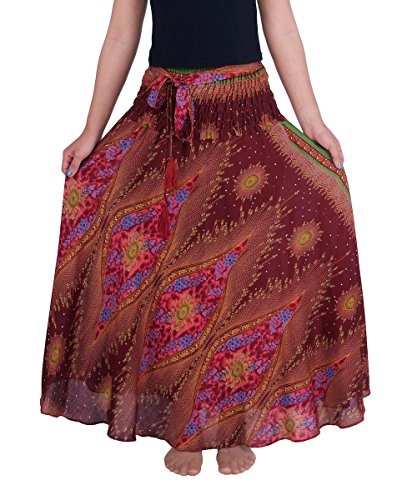 Lannaclothesdesign Women's Long Maxi Ankle Lenght Skirt Boho Skirts (One Size, Burgundy Flower (Rayon Drawstring)