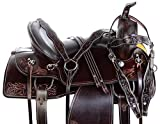AceRugs 16″ 17″ 18″ Endurance Trail Saddle Dark Oil Premium Tooled Leather Horse TACK Western Bridle Breast Collar REINS