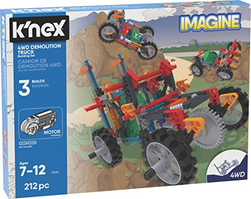 K'NEX K'Nex Imagine – 4WD Demolition Truck Building Set – 212Piece – Ages 7+ – Engineering Educational Toy Building Set JungleDealsBlog.com