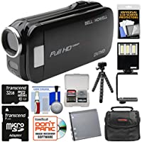Bell & Howell Slice2 DV7HD 1080p HD Slim Video Camera Camcorder (Black) with 32GB Card + Battery + Case + Flex Tripod + LED Video Light + Kit
