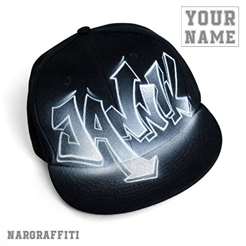 CUSTOM snapback hat with your GRAFFITI airbrushed NAME Black flat brim One size fits All ()